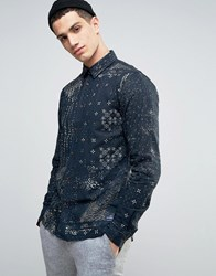 Solid Shirt In Mixed Print And Regular Fit Navy