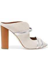 Malone Souliers Metallic Leather Trimmed Linen Mules White