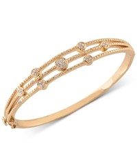 Carolee Gold Tone Crystal Accented Three Row Hinged Bangle Bracelet