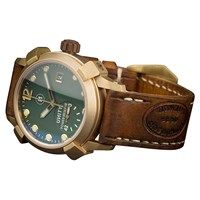 U Ni Ty Unity Limited Edition Beagle Bronze Green Dial Watch Gold
