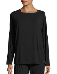 Calvin Klein Lace Trim Long Sleeve Pajama Top Black