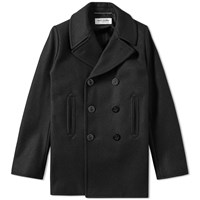 Saint Laurent Wool Peacoat Black