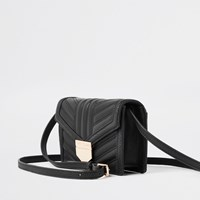 River Island Black Quilted Cross Body Mini Bag