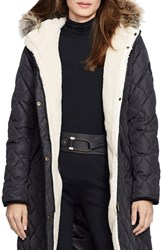 Lauren Ralph Lauren Women's Faux Fur Trim Down And Feather Fill Parka New Litchfield Loden