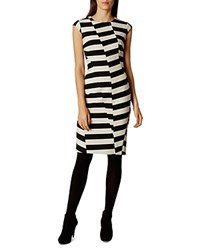 Karen Millen Paneled Stripe Pencil Dress Black White