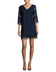 Laundry By Shelli Segal V Neck Scalloped Lace Shift Dress Midnight