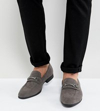 Asos Design Wide Fit Loafers In Grey Faux Leather With Snaffle Detail