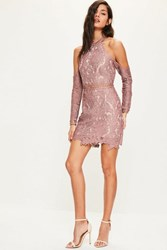 Missguided Pink Lace Cold Shoulder Bodycon Dress Mauve