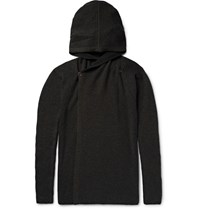 Rick Owens Ribbed Cashmere Blend Hooded Cardigan Charcoal