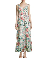 Johnny Was Floral Print Button Front Maxi Dress Multicolor