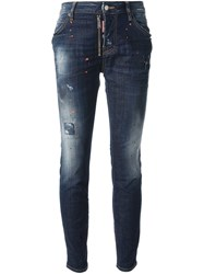 Dsquared2 Worn Jeans Blue