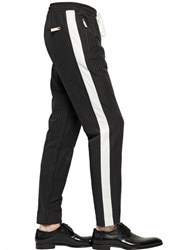 Dolce And Gabbana Pinstriped Linen Cotton Jogging Pants