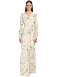 Luisa Beccaria Floral Print Viscose Georgette Jumpsuit Ivory