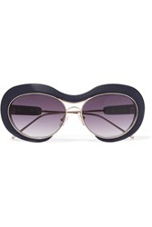Sacai Round Frame Acetate And Metal Sunglasses Navy