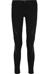 Rag And Bone The Labyrinth Mesh And Leather Paneled Stretch Cotton Leggings Black
