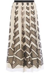 Red Valentino Redvalentino Woman Organza Paneled Gathered Embroidered Swiss Dot Tulle Midi Skirt Beige