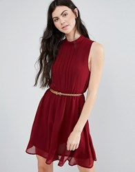 Madam Rage Belted Pleated Dress Wine Red