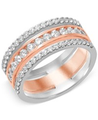 Macy's Diamond Prong Band 1 Ct. T.W. In 14K White And Rose Gold