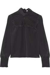Red Valentino Redvalentino Point D'esprit Paneled Silk Crepe De Chine Blouse Black