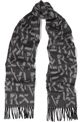 Karl Lagerfeld Intarsia Wool And Cashmere Blend Scarf Charcoal