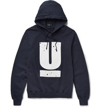 Undercover Printed Loopback Cotton Jersey Hoodie Navy