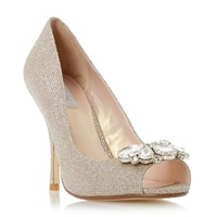 Untold Daksa Jewel Trim Peep Toe Court Shoes Gold