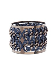 Pluma Gunmetal Brass And Navy Blue Leather Large Bangle In Fumoso Graphite