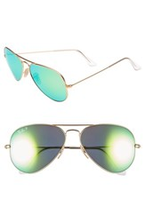 Ray Ban Women's 58Mm Aviator Polarized Sunglasses Gold Green Mirror Gold Green Mirror
