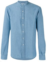 Aspesi Band Collar Shirt Blue