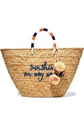 Kayu Woman Embellished Woven Straw Tote Beige