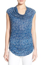 Petite Women's Halogen Drape Neck Sleeveless Top Blue Pink Fusion Print