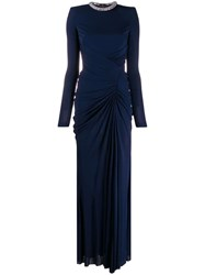 Alexander Mcqueen Crystal Rope Evening Dress Blue