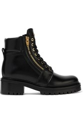 Balmain Army Leather Ankle Boots Black