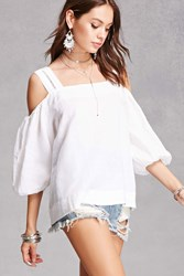 Forever 21 Open Shoulder Boxy Top White