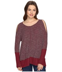 Culture Phit Elise Long Sleeve Top With Open Shoulder Burgundy Women's Dress