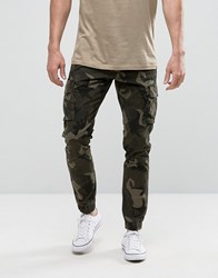 Only And Sons Cuffed Cargo Trousers In Camo Camo Green