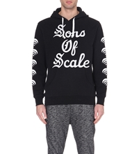 Black Scale Text Print Cotton Hoody Black