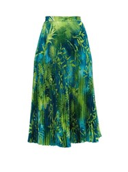 Versace Jungle Print Pleated Midi Skirt Green Print
