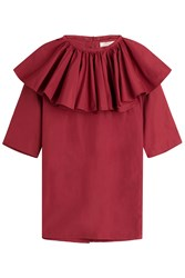Nina Ricci Cotton Blouse With Ruffles Red