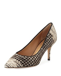 Susi Houndstooth Pattern Pump Black Cream Salvatore Ferragamo
