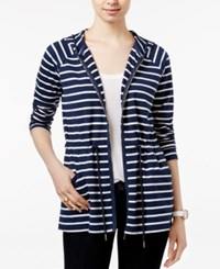 Tommy Hilfiger Kayda Striped Zip Front Hoodie Core Navy Snow White