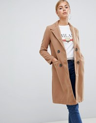 Boohoo Double Breasted Coat In Camel Beige