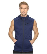 Nike Therma Hoodie Sleeveless Full Zip Swoosh Binary Blue Black Men's Sweatshirt