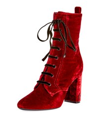 Saint Laurent Loulou Velvet Lace Up Boot Red