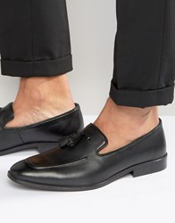 Asos Tassel Loafers In Black Suede With Apron Toe Black