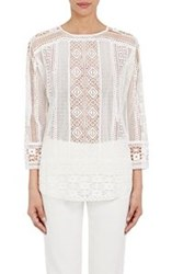 Tomorrowland Geometric Lace Top White