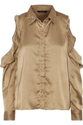 W118 By Walter Baker Paula Off The Shoulder Ruffled Satin Top Gold