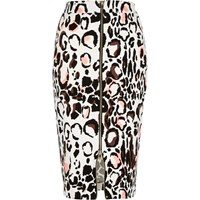 River Island Womens White Animal Print Zip Front Pencil Skirt