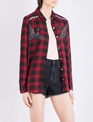 The Kooples Embroidered Checked Woven Shirt Red19
