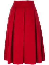 Max Mara Frate Pleated Skirt Cupro Camel Fur Red